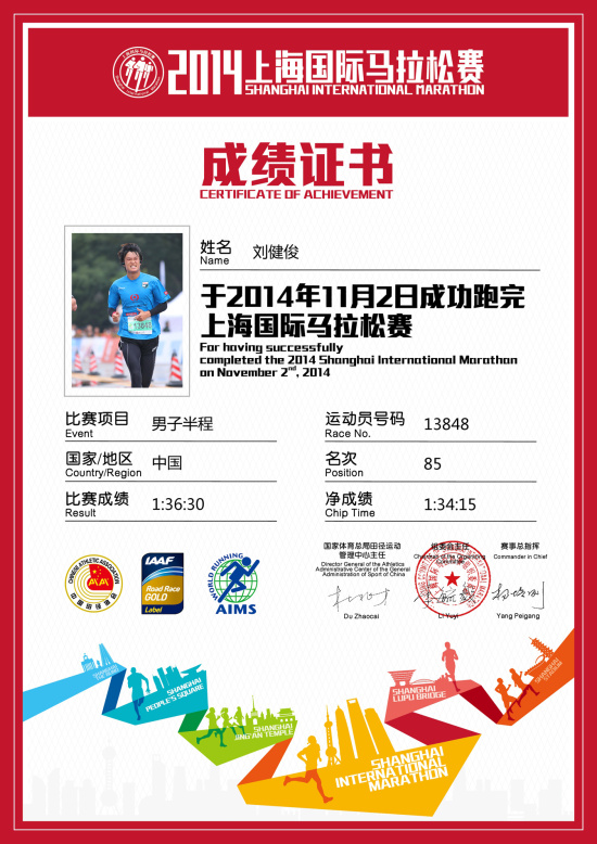 11月3日 2014上海马拉松进入100的目标达成! - 岡本龍蔵 - TFA足球教练-岡本龍蔵